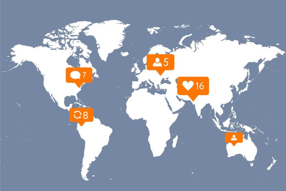 mapa mundi com ícones de acesso remetendo ao aplicativo instagram