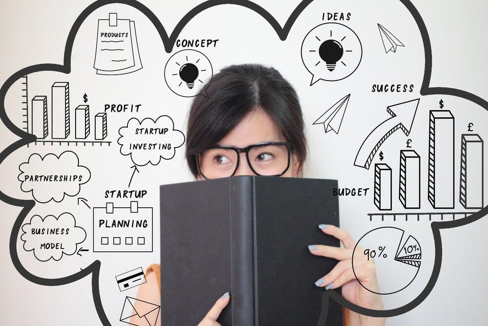 mulher com livro escondendo rosto junto com ilustração de termos relacionados a dministração de marketing