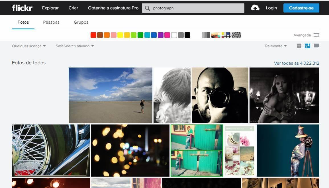 página de fotos da plataforma para portfolios online Flickr