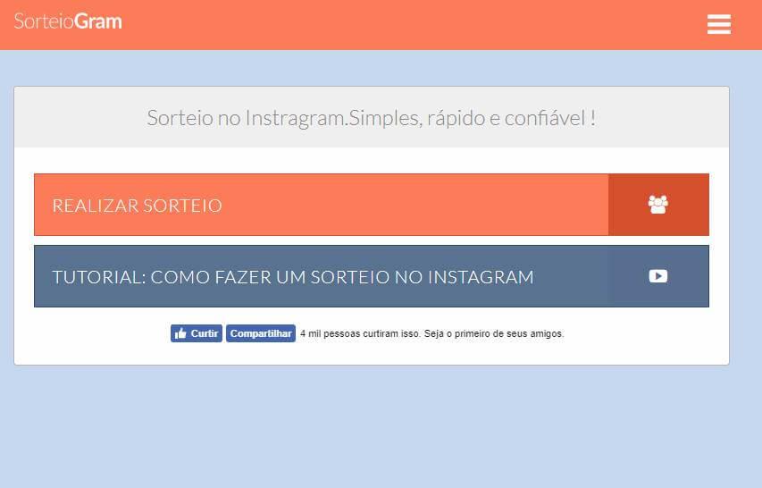 página do site de sorteios para instagram SorteioGram