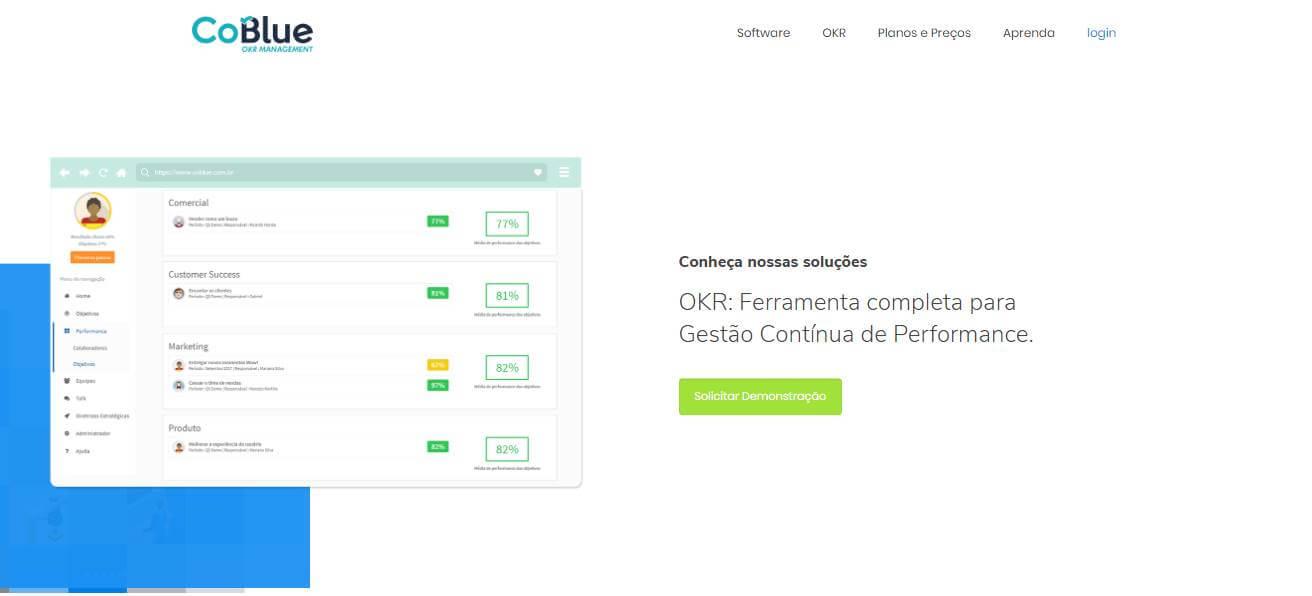 página inicial de site CoBlue de acompanhamento de metodologia OKR para empresas