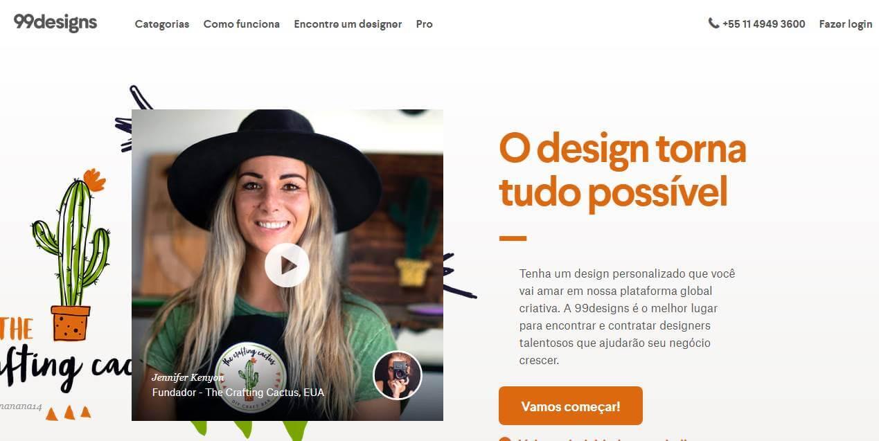 página inicial de site de trabalhos remotos 99 Designs