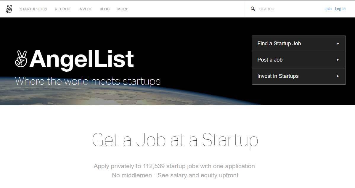 página inicial de site de trabalhos remotos AngelList