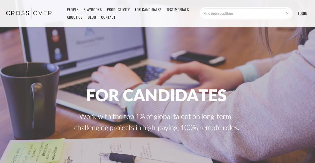 página inicial de site de trabalhos remotos Crossover
