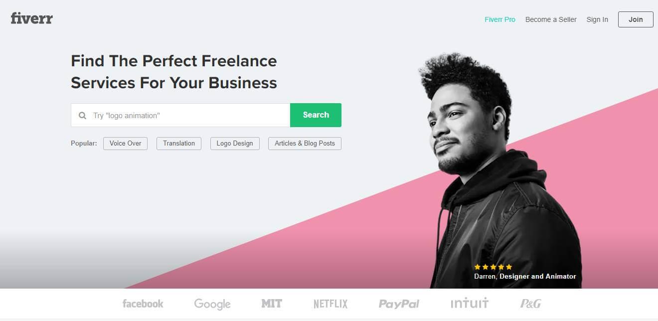 página inicial de site de trabalhos remotos Fiverr