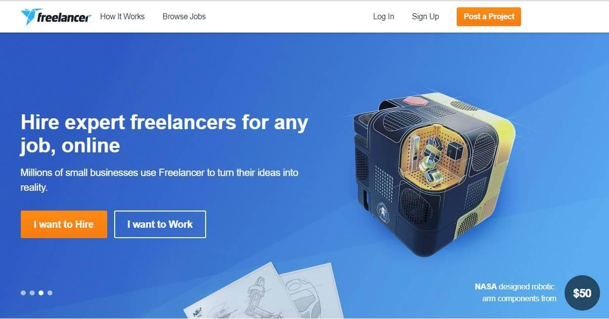 página inicial de site de trabalhos remotos freelancer
