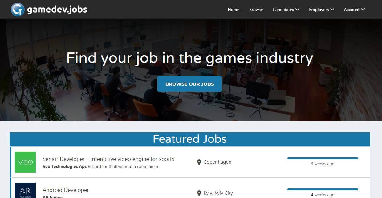 página inicial de site de trabalhos remotos Gamedev.jobs