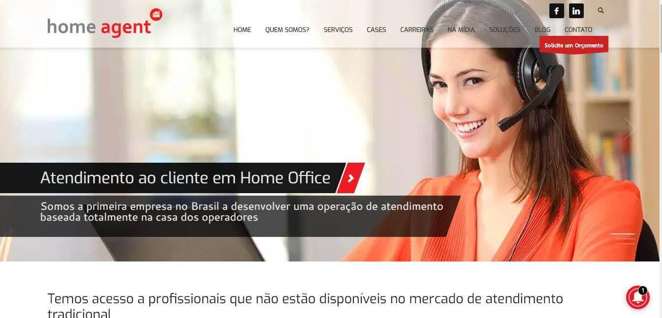 página inicial de site de trabalhos remotos Home Agent