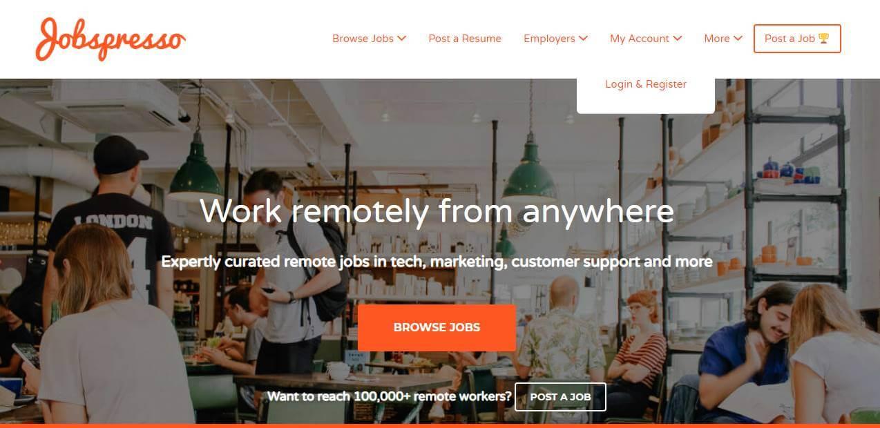 página inicial de site de trabalhos remotos Jobspresso