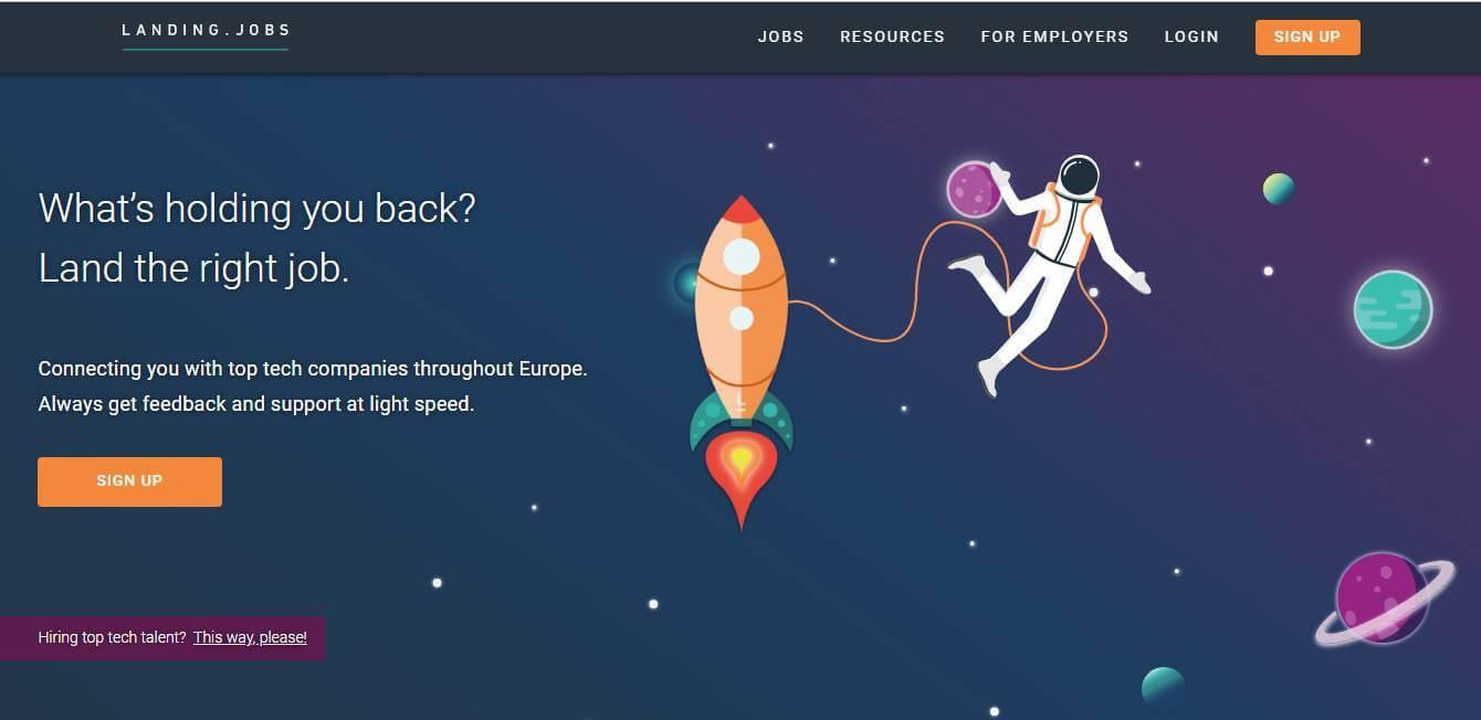 página inicial de site de trabalhos remotos Landing.jobs