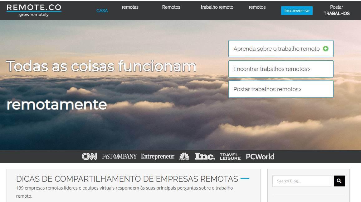 página inicial de site de trabalhos remotos Remote.co