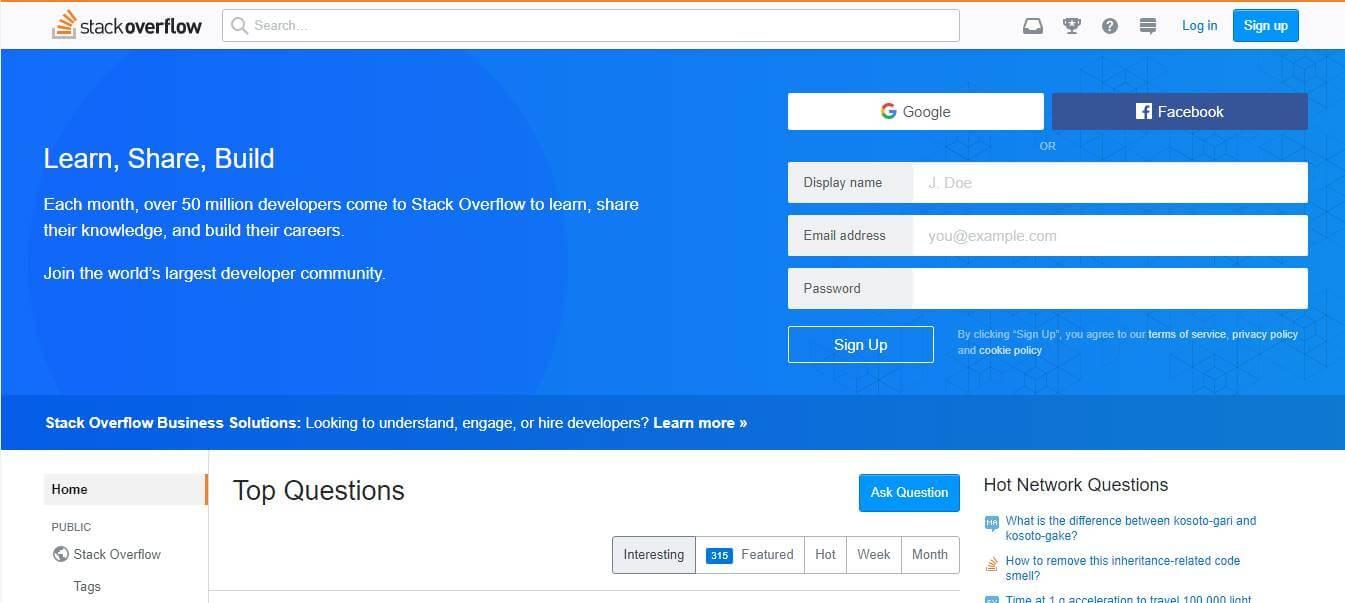 página inicial de site de trabalhos remotos Stackoverflow