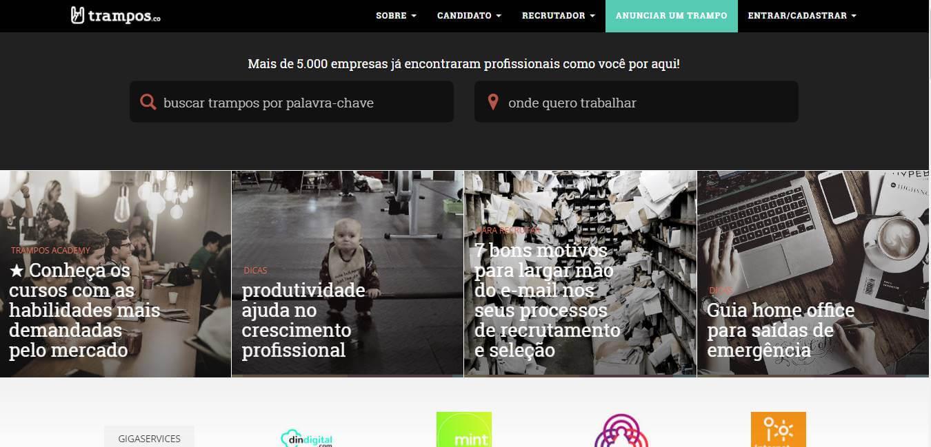 página inicial de site de trabalhos remotos Trampos.co