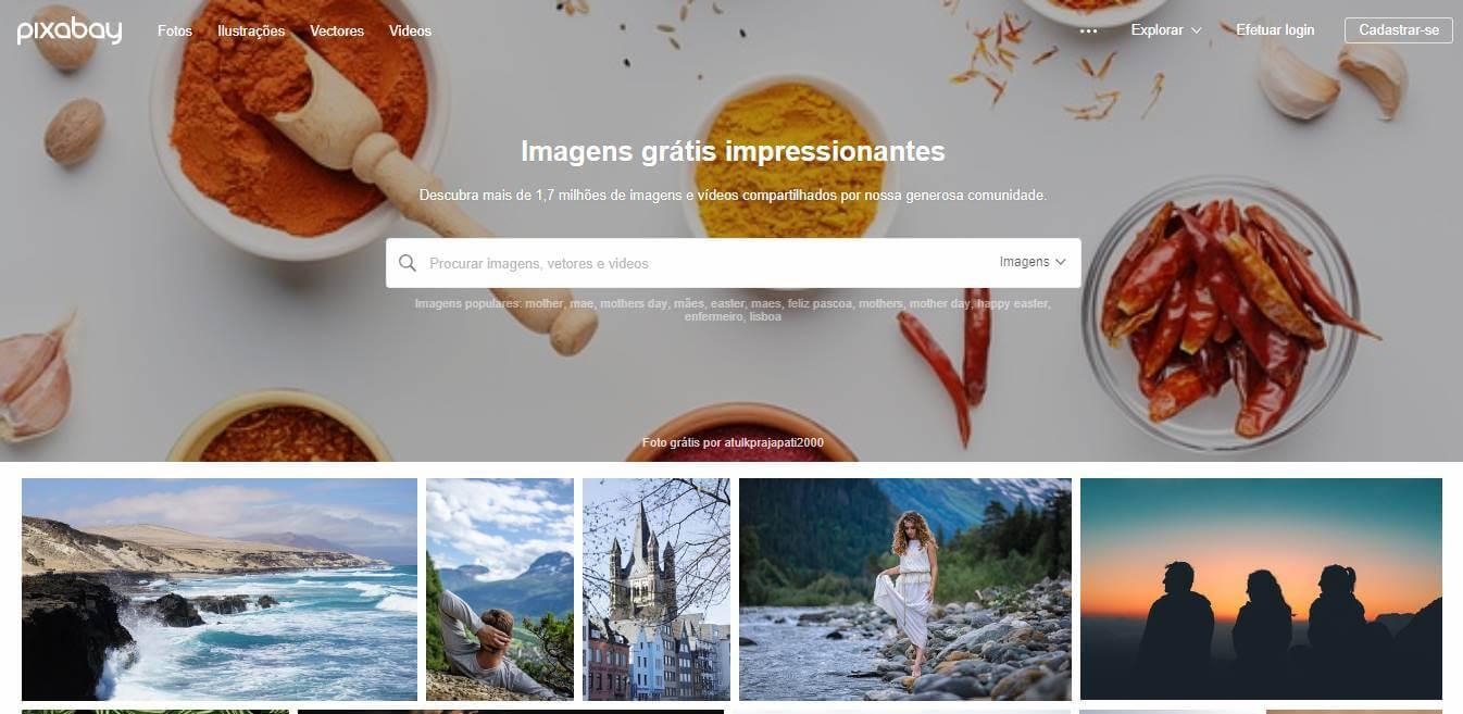 página inicial do banco de imagem gratis Pixabay