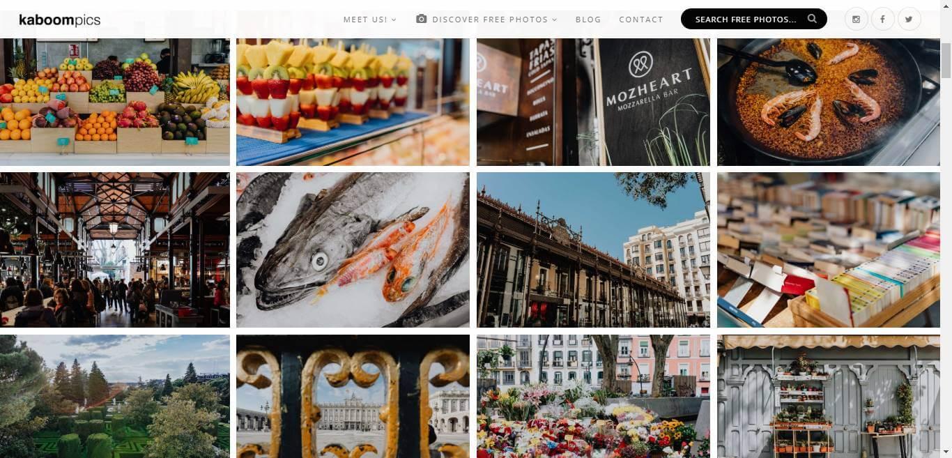 página inicial do banco de imagens gratis Kaboom Pics