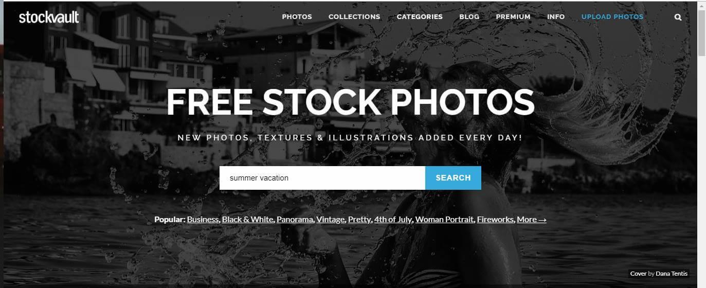 página inicial do banco de imagens gratis STOCKVAULT