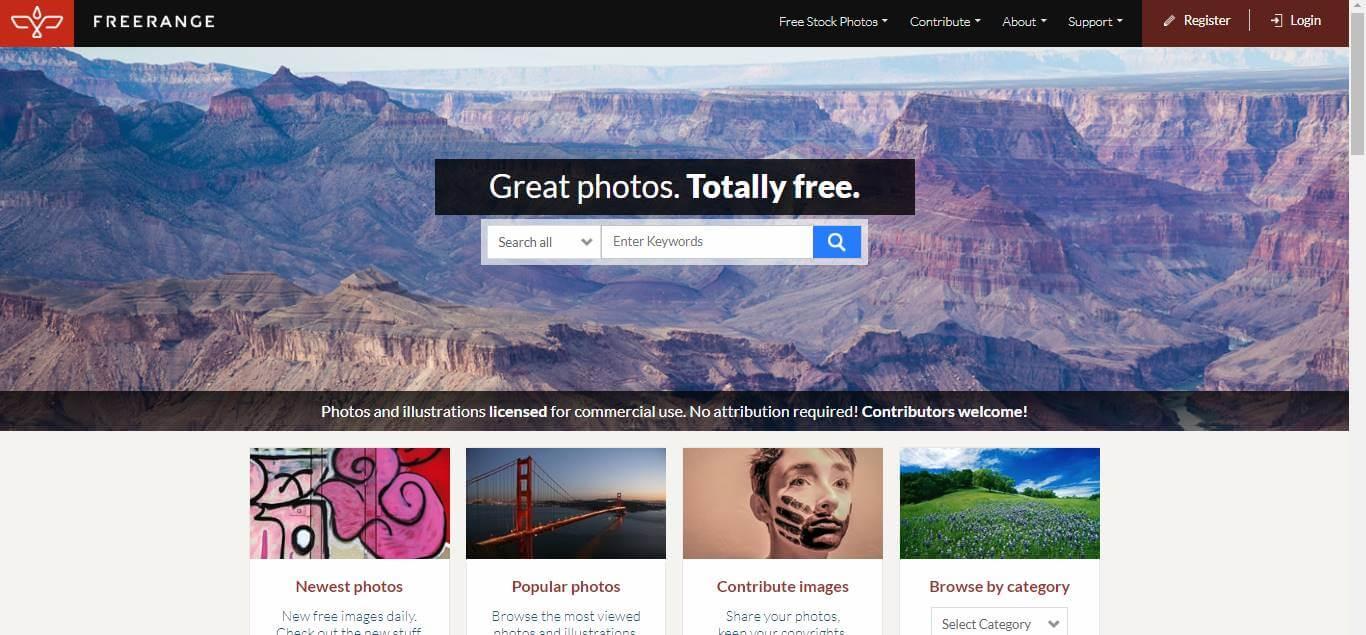 página inicial do site de banco de imagens gratis Freerange Stock