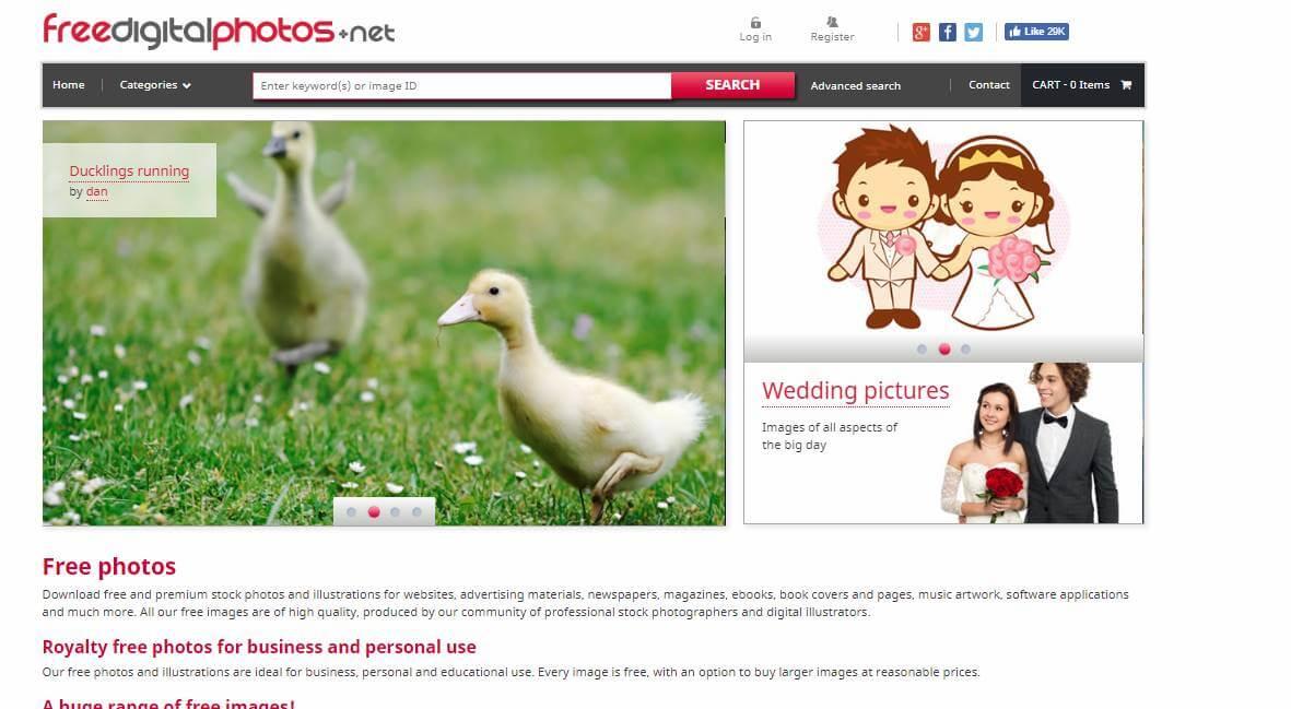 página inicial do site de banco de imagens gratuito Free Digital Photo