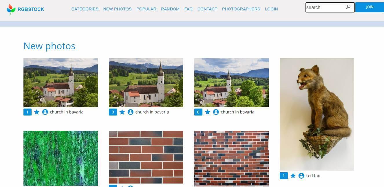 página inicial do site de banco de imiagens gratis RGBStock