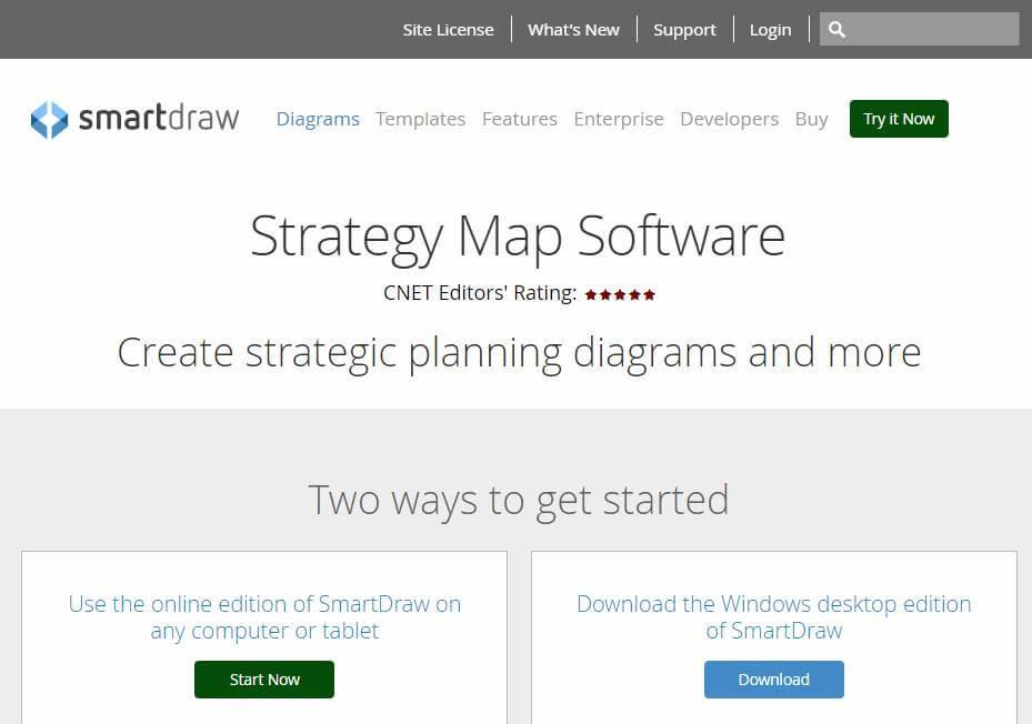 página inicial do site de criação de mapas estratégicos SmartDrew