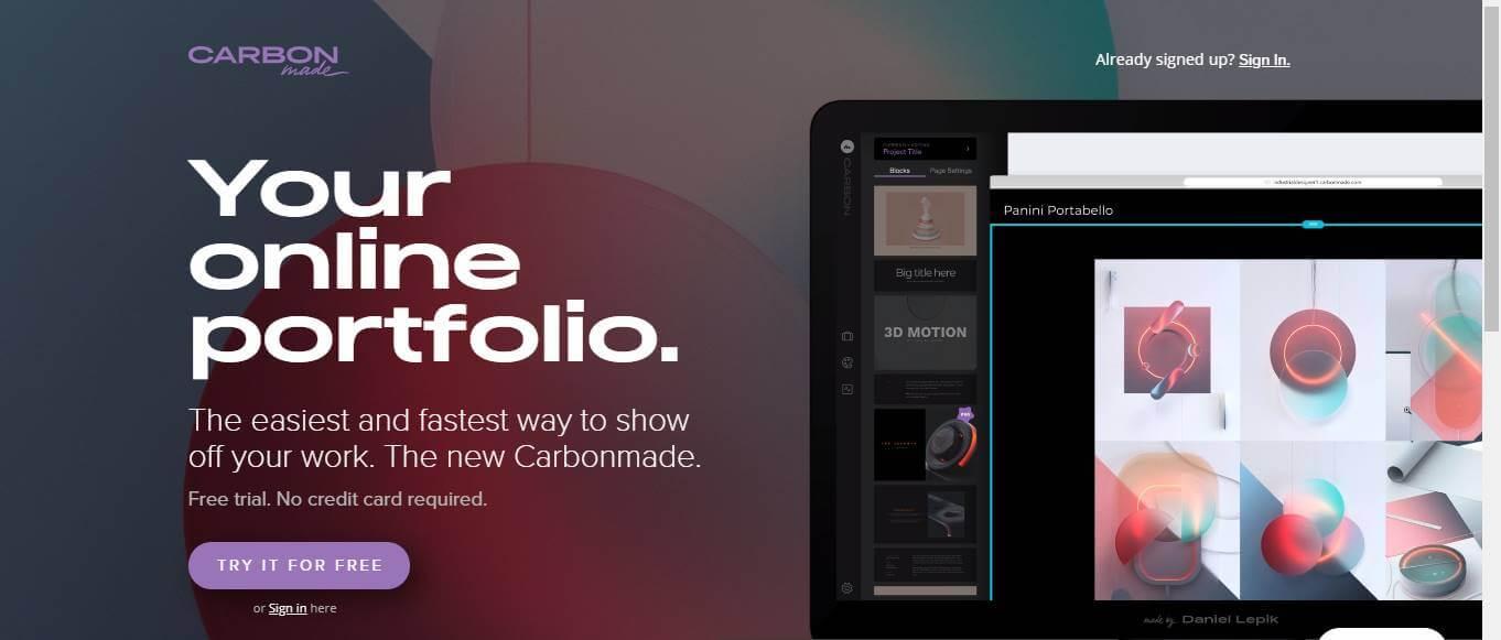 página inicial do site de criação de portfolio online CarbonMade