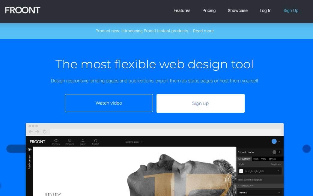 página inicial do site Froont para criação de sites responsivos