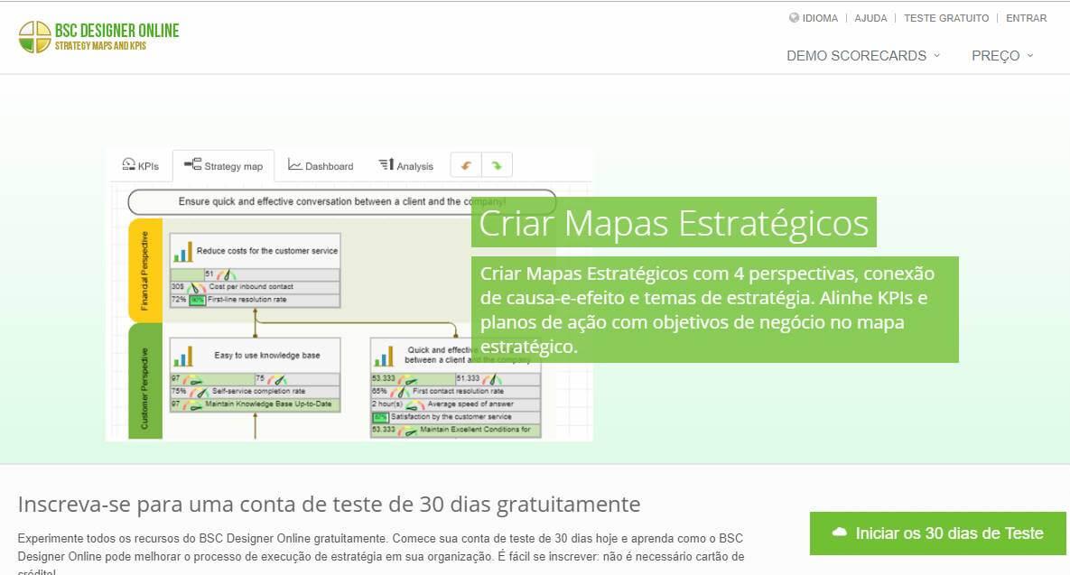 página inicial do site para criação de mapas estratégicos BSC designer online