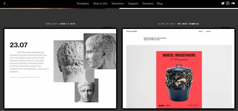 página inicial do site para desktop de criação de portfolio online Cargo Collective