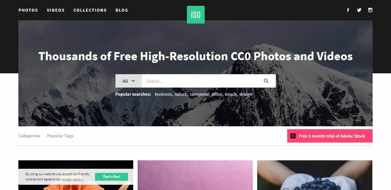 página inicial do site para desktop do banco de imagens gratis ISO republic