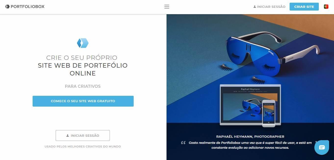 página inicial do site Portfolio box para portfolios online