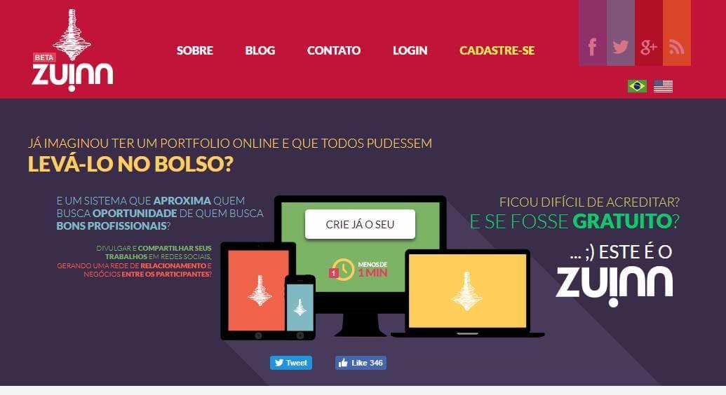 página inicial do sitre da plataforma para portfolios online zuinn