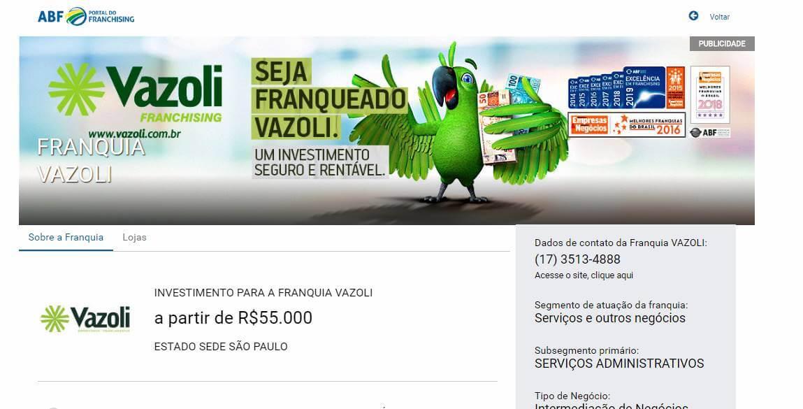 página web da empresa Vazoli com exemplo de tipo de empreendedorismo