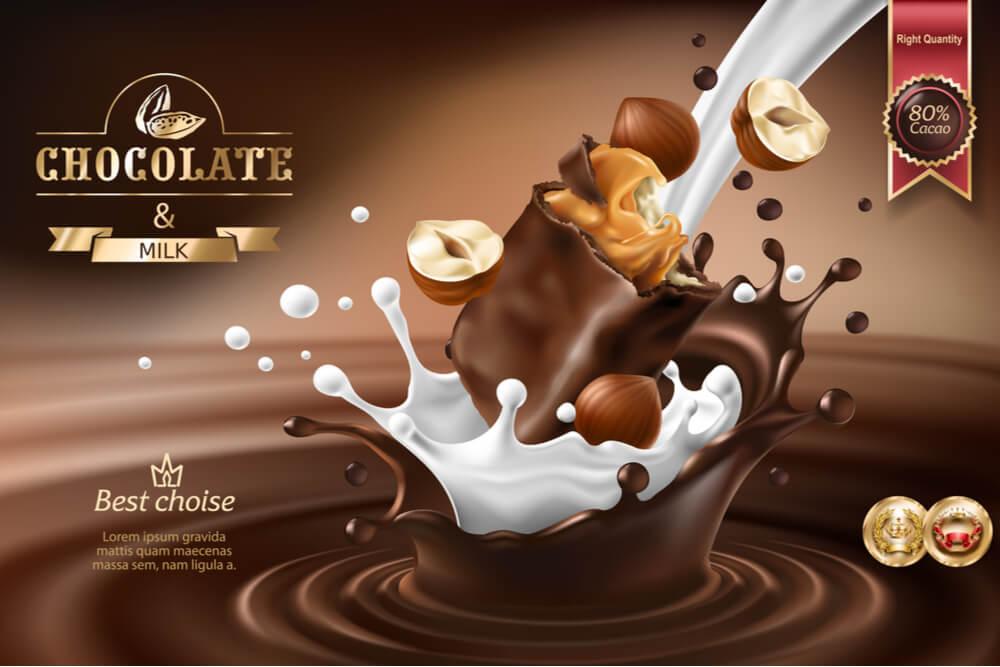 peça publicitária de produto de chocolate