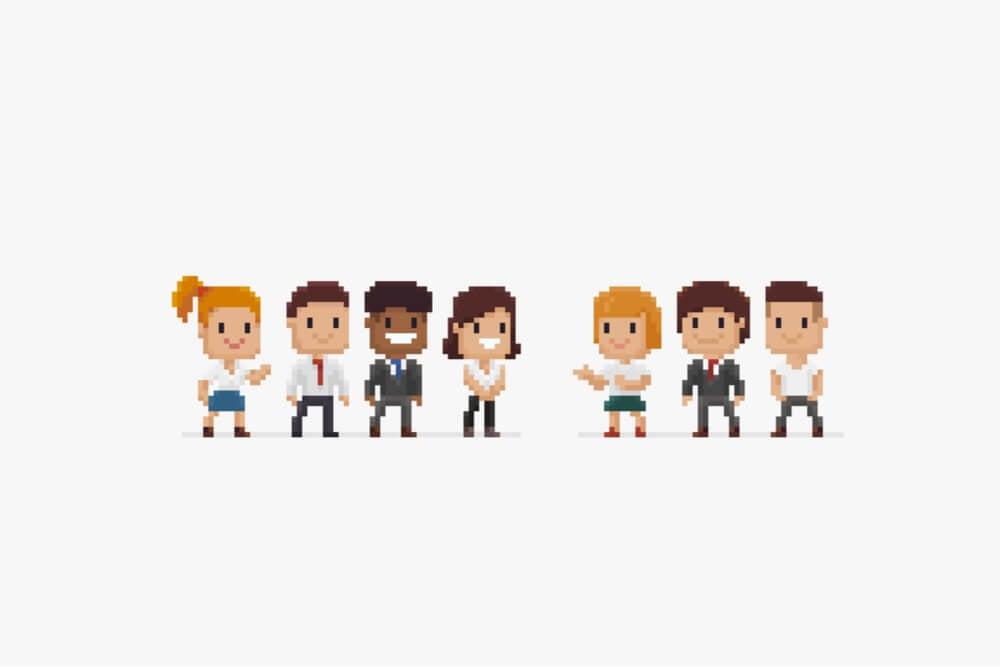 personagens de jogo representando equipe executiva
