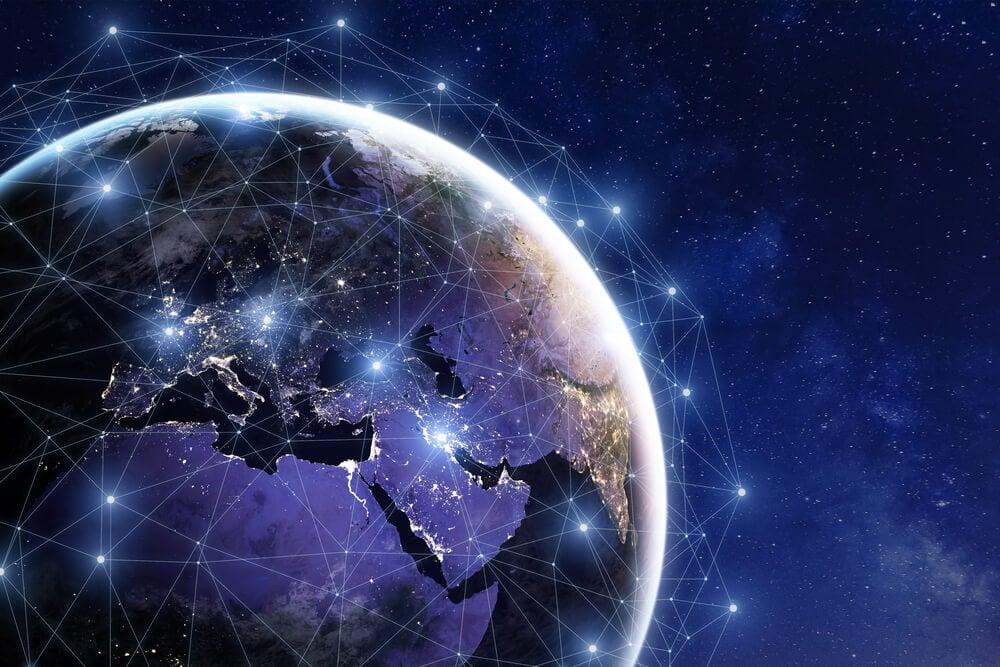 planeta terra com ligações representando comunicação