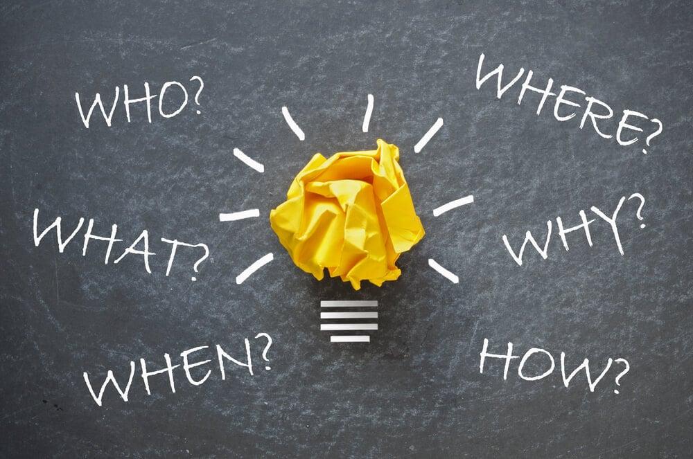 representação de lâmpada de idéias com termos relacionados ao método 5W2H