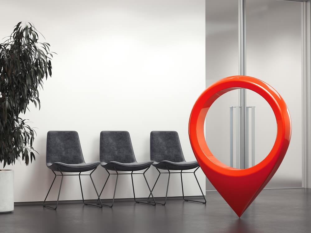 símbolo de localização em escritório