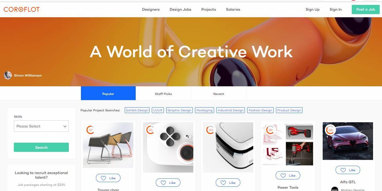 site para desktop da plataforma cotoflot para portfolios online