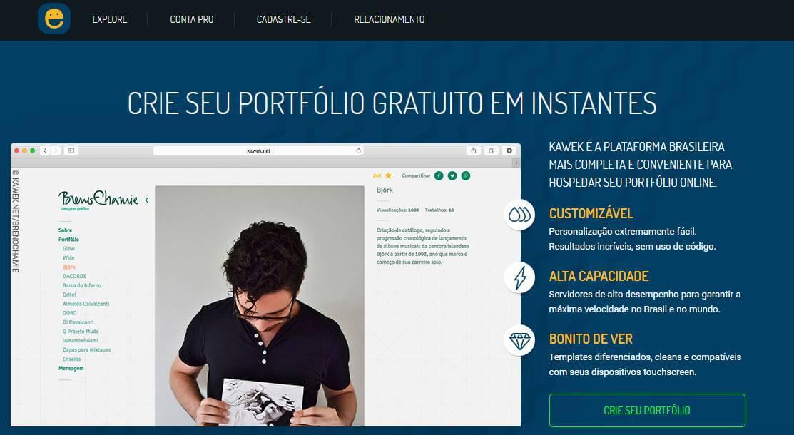 site para desktop da plataforma Kawek para criação de portfolios online