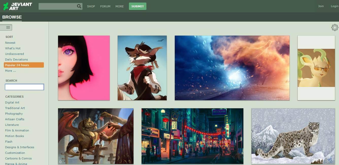 site para desktop DevainArt para portfolios online de artes