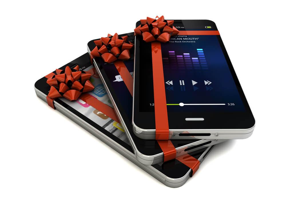 smartphone com laços representando prêmios