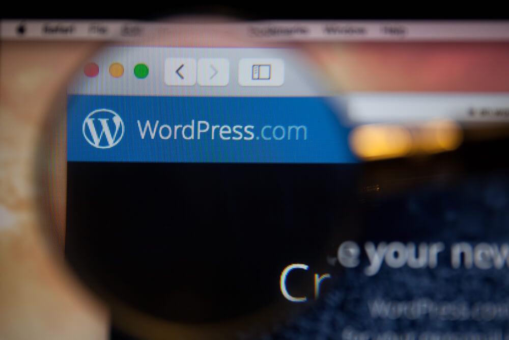 tela de computador com lupa indicando aplicativo wordpress