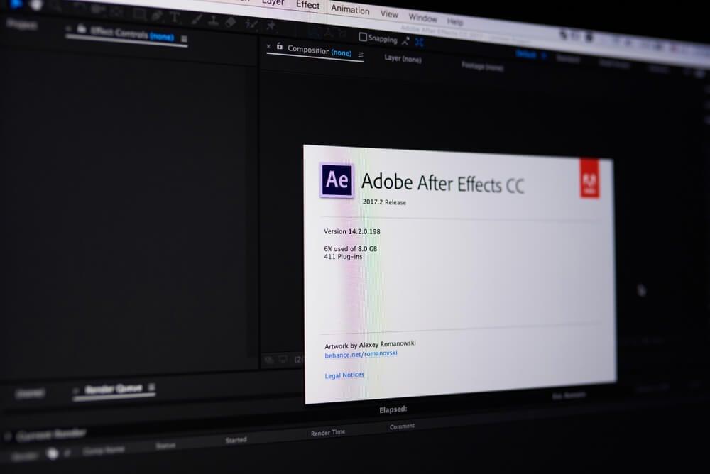 tela de inicialização do programa de efeitos After Effects da empresa Adobe