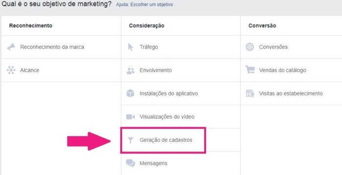 tela do facebook ads com anuncios com objetivo de gerar leads