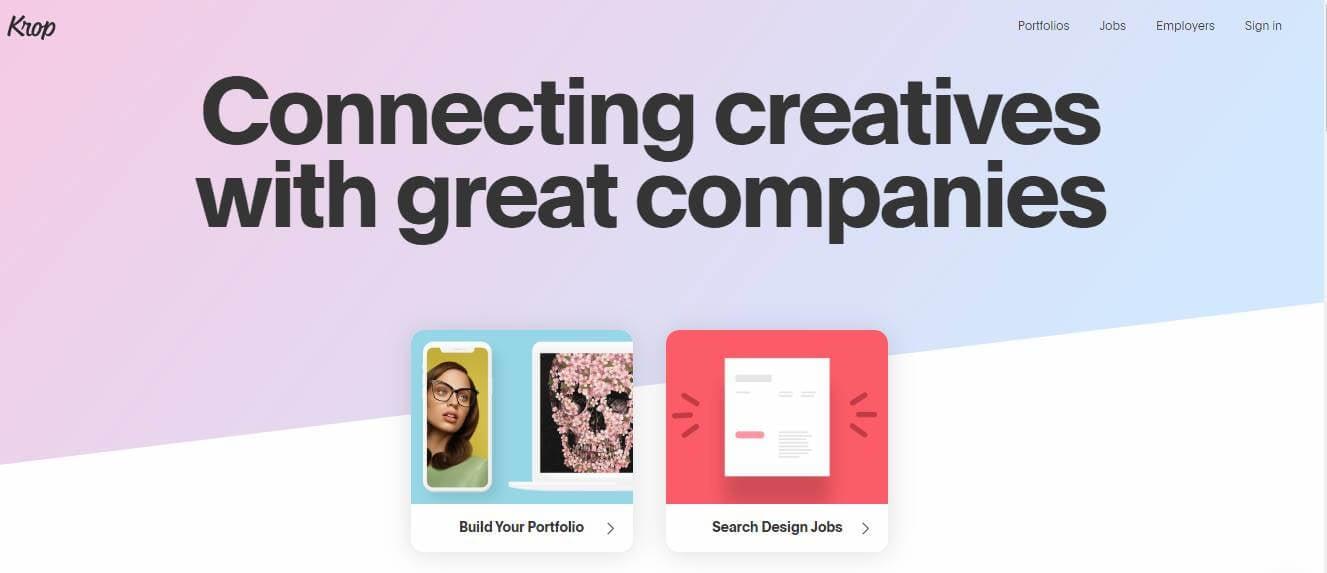 tela inciial do site Krop para portfolios online