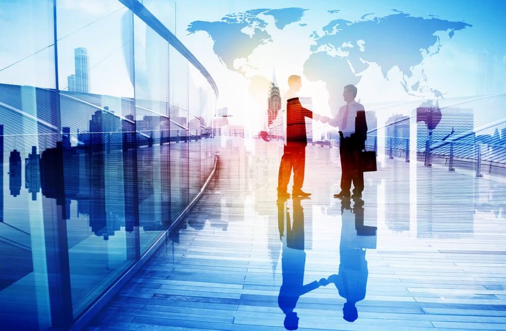 cumprimento entre profissionais de marketing internacional de diferentes países