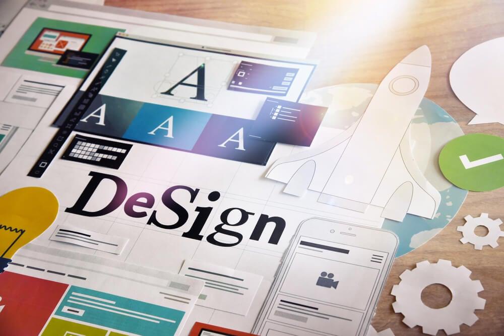 elementos de design no plano de mídia