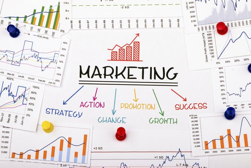 elementos e gráficos de estratégia de marketing no plano de mídia