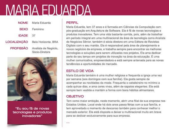 exemplo de persona Maria Eduarda