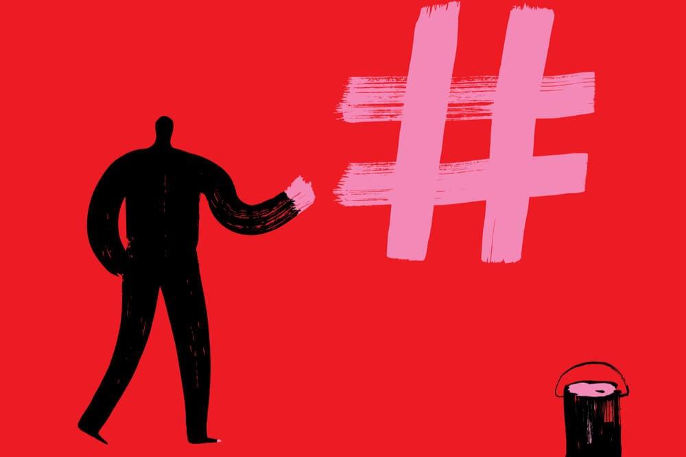 ilustração de boneco pintando uma hashtag